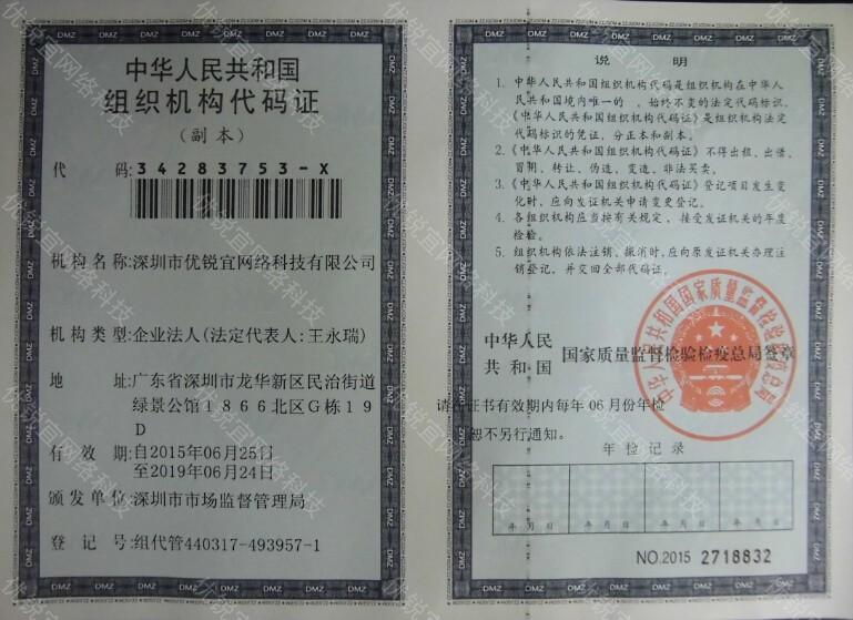 深圳市优锐宜网络科技有限公司-组织机构代码